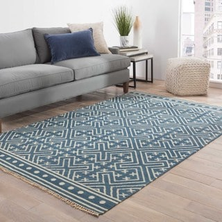 Southwestern/Tribal Pattern Blue/ Ivory Wool Area Rug (8'x10')