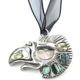 Pewter Abalone Aztec Cuahtli Eagle Pendant (Mexico)