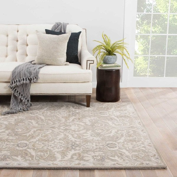 Maison Rouge Brooke Handmade Damask Grey Area Rug (8' x 10')