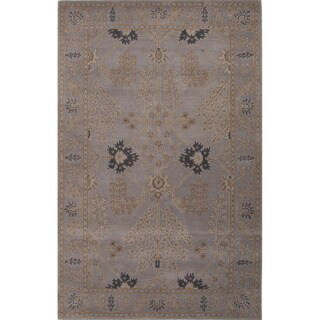 Hand Tufted Floral Pattern Grey Wool Area Rug (5'x8')