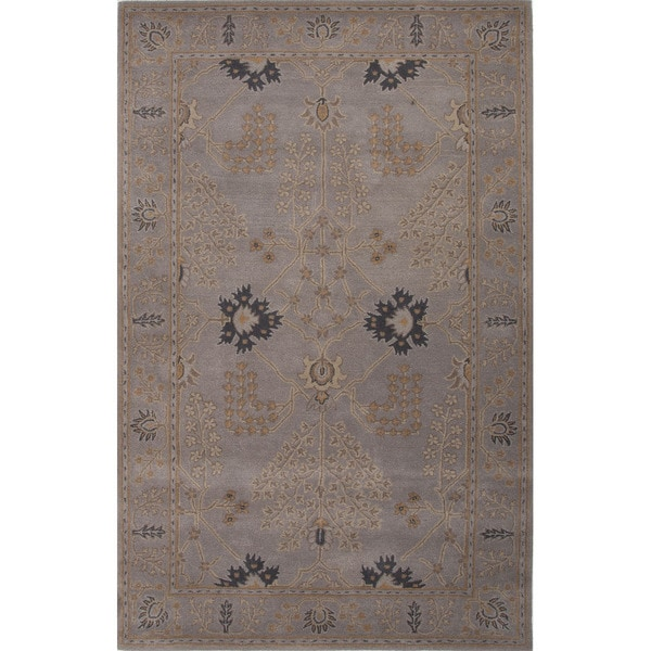 Chantilly Handmade Floral Gray/ Tan Area Rug (9' x 12')