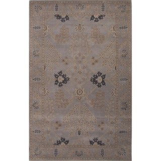 Hand Tufted Floral Pattern Grey Wool Area Rug (9' x 12')
