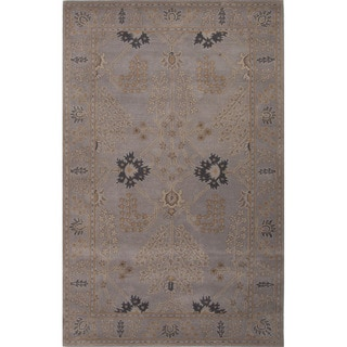 Hand Tufted Floral Pattern Grey Wool Area Rug (3'6 x 5'6)