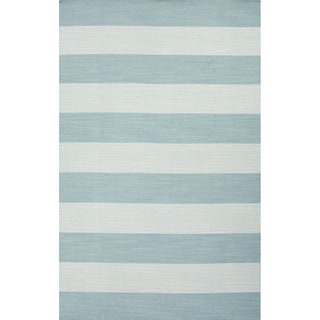Flat Weave Stripe Pattern Blue Wool Area Rug (8' x 10')