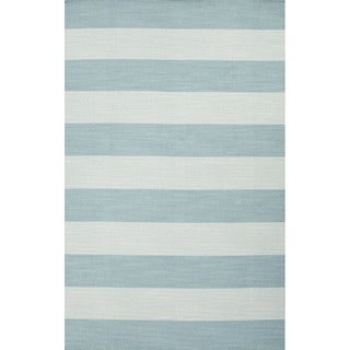 Flat Weave Stripe Pattern Blue Wool Area Rug (5' x 8')