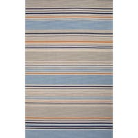 Balaton Handmade Stripe Blue/ Orange Area Rug (9' x 12') - 9' x 12'