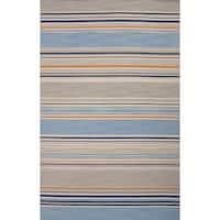 Balaton Handmade Stripe Blue/ Orange Area Rug (5' X 8') - 5' x 8'