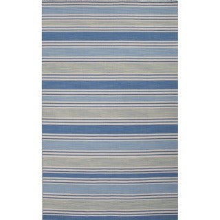 Flat Weave Stripe Pattern Blue/ Ivory Wool Area Rug (4' x 6')