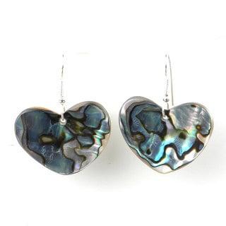 Josefa Alpaca Silver Abalone Heart Earrings (Mexico)