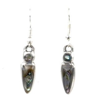 Handmade Small Abalone Drop Earrings (Mexico)