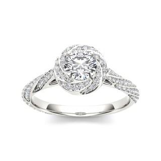 De Couer 14k White Gold 1ct TDW Diamond Vintage Swirl Engagement Ring (H-I, I2)