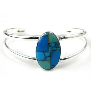 Handmade Turquoise Mosaic Cuff Bracelet (Mexico)
