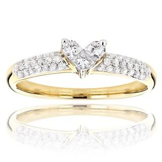 Luxurman 14k Gold 1/2ct TDW Diamond Heart Ring