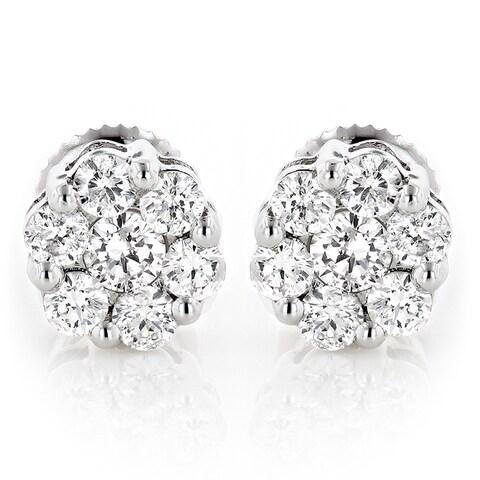 Luxurman 14k Gold 1/2ct TDW Diamond Cluster Stud Earrings