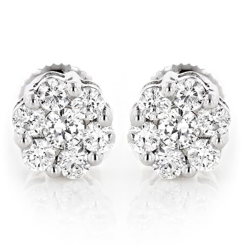 Luxurman 14k Gold 1/2ct TDW Diamond Cluster Stud Earrings