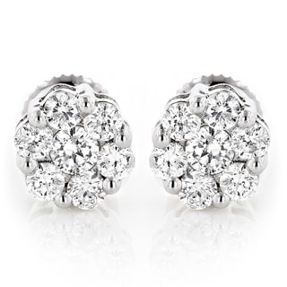 Luxurman 14k Gold 1/2ct TDW Diamond Cluster Stud Earrings (G-H, VS1-VS2)