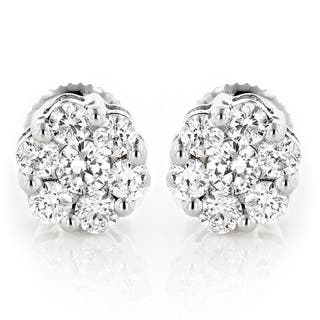 Luxurman 14k Gold 1/2ct TDW Diamond Cluster Stud Earrings|https://ak1.ostkcdn.com/images/products/9391554/P16580957.jpg?impolicy=medium