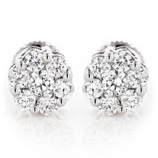 Luxurman 14k Gold 1 2ct Tdw Diamond Cer Stud Earrings
