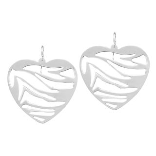 Handmade Open Wave Sterling Silver Heart Large Dangle Earrings (Thailand)
