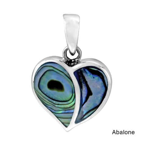 Handmade One Love Heart Stone Inlay .925 Sterling Silver Pendant (Thailand)
