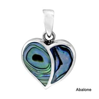 Handmade One Love Heart Stone Inlay .925 Sterling Silver Pendant (Thailand)|https://ak1.ostkcdn.com/images/products/9391602/P16580820.jpg?impolicy=medium