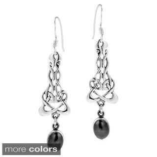 Celtic Weave Oval Stone Dangle .925 Silver Earrings (Thailand)