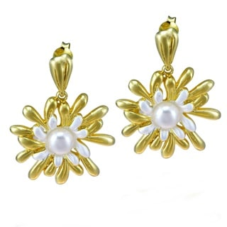 Floral Sea Anemone Pearl 22k Gold Over .925 Silver Earrings (Thailand)