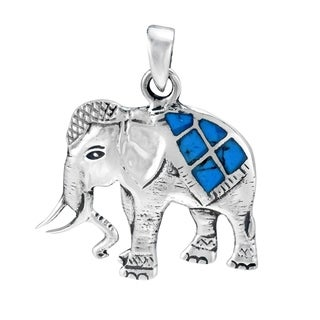 Handmade Thai Royal Elephant Stone Inlay .925 Silver Pendant (Thailand) (Option: Turquoise)