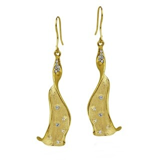 Handmade Abstract Flower Bud CZ 22k Gold Over .925 Silver Earrings (Thailand)