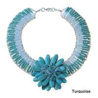Handmade Exotic Lotus Stone Flower Blossom Statement Necklace (Thailand)