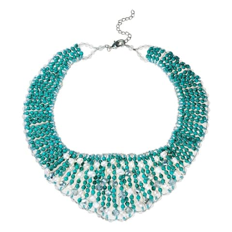Handmade Breathtaking Turquoise Pearl Crystal Statement Collar Necklace (Thailand)