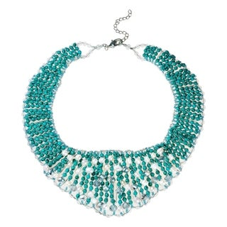Handmade Breathtaking Turquoise Pearl Crystal Collar Necklace (Thailand)