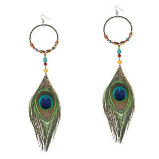 Handmade Modern Circle Dramatic Peacock Feather Crystal Earrings (Thailand)