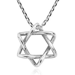 Handmade Intertwined Star of David .925 Sterling Silver Necklace (Thailand)