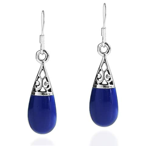 Handmade Filigree Swirl Teardrop Stone .925 Silver Dangle Earrings (Thailand)