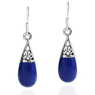 Filigree Swirl Teardrop Stone .925 Silver Dangle Earrings (Thailand)
