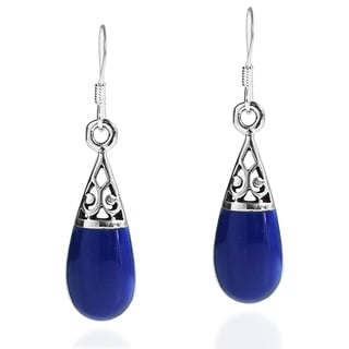Handmade Filigree Swirl Teardrop Stone .925 Silver Dangle Earrings (Thailand)
