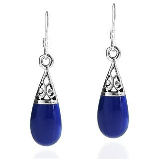 Handmade Filigree Swirl Teardrop Stone .925 Silver Dangle Earrings (Thailand)|https://ak1.ostkcdn.com/images/products/9391625/P16580841.jpg?impolicy=medium