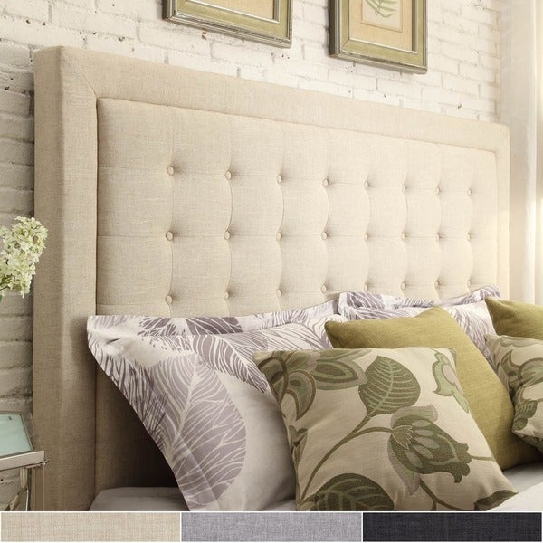 Great Bellevista Button Tufted Square Queen Upholstered Headboard By INSPIRE Q  Bold