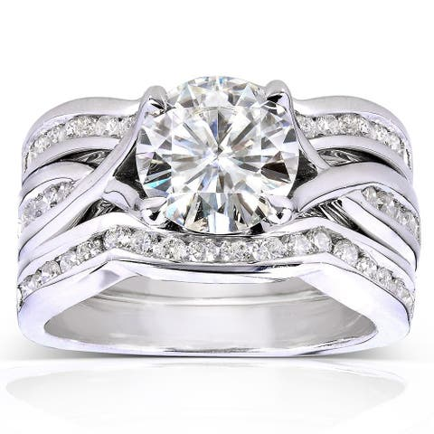 Annello by Kobelli 14k White Gold 1 3/4ct TGW Round-cut Moissanite and Channel-set Diamond 3-piece Bridal Rings Set