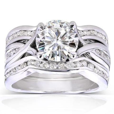 Annello by Kobelli 14k White Gold 1 3/4ct TGW Round-cut Moissanite and Channel-set Diamond 3-piece Bridal Rings Set