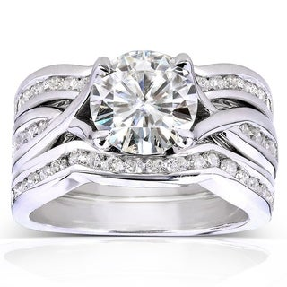 Link to Annello by Kobelli 14k White Gold 1 3/4ct TGW Round-cut Moissanite and Channel-set Diamond 3-piece Bridal Rings Set Similar Items in Rings