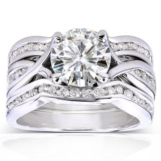 Annello by Kobelli 14k White Gold Moissanite and 3/4ct TDW Diamond 3-piece Bridal Rings Set