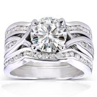 Annello by Kobelli 14k White Gold 1 3/4ct TGW Round-cut Moissanite (HI) and Channel-set Diamond 3-piece Bridal Rings Set