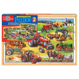 American Tractor Jumbo Wooden Puzzle in Wood Box Set