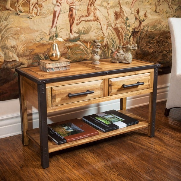Shop luna acacia wood console table by christopher knight