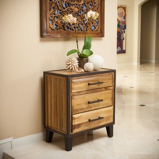 Luna Acacia Wood 3-drawer Cabinet by Christopher Knight Home