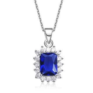 Collette Z Sterling Silver Blue and White Cubic Zirconia Square Necklace