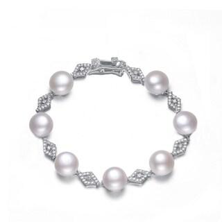 Collette Z Sterling Silver Freshwater Pearl Cubic Zirconia Bracelet (10-11 mm)