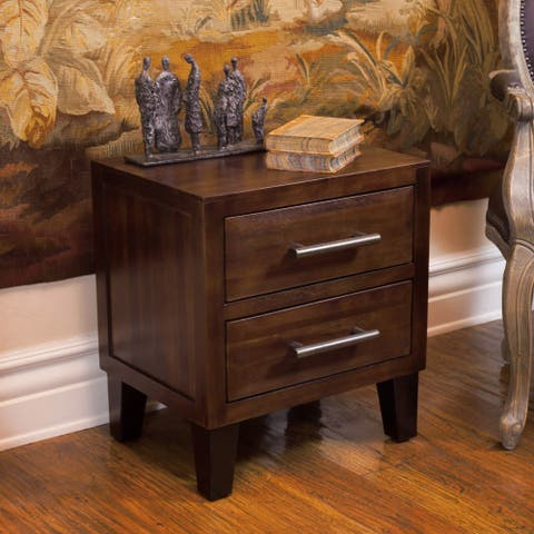 Luna Modern Acacia Wood Two Drawer Night Stand by Christopher Knight Home